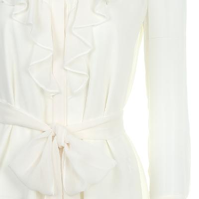 ruffle detail ribbon blouse white